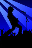 Guitarist. Vector illustration. rock guitarist in blue style Royalty Free Stock Image