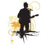 Guitarist. Illustration of a guitarist and grungy patterns Stock Image