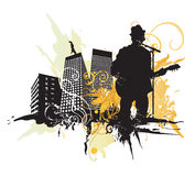 Guitarist. Illustration of a guitarist and urban buildings Stock Image