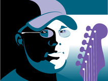 Guitarist Background. An illustrated background of a guitarist wearing a cap Royalty Free Stock Photo