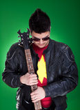 Guitarist in black leather jacket Stock Photo