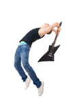 Guitarist breaking his guitar Stock Photography