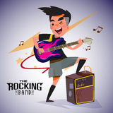 Guitarist with bright emotions, playing rock electric guitar nea. R an amp. character design. typographic rock design -  illustration Stock Photography