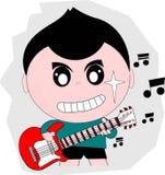 Guitarist cartoon action. Baby guitarist cartoon action with guitar Royalty Free Stock Image