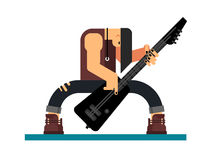 Guitarist character flat illustration. Guitarist character, guitar and musician, musical instrument, sound and performance and stage, flat vector illustration Stock Photo