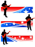 Guitarist collection on patriotic internet banners Stock Photos
