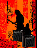 Guitarist  composition. Abstract over a red background Royalty Free Stock Photo