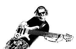 Guitarist with dreadlocks. Illustration of guitarist with dreadlocks Royalty Free Stock Image