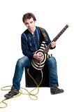 Guitarist with electric guitar Stock Photos
