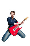 Guitarist with electric guitar Royalty Free Stock Images