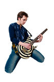 Guitarist with electric guitar Royalty Free Stock Photo