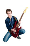 Guitarist with electric guitar Stock Photo