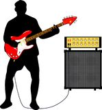 Guitarist with electric guitar and amplifier. Illustration of a guitarist with a red electric guitar and amplifier Vector Illustration