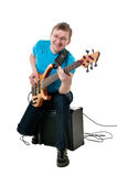 Guitarist with electro guitar Royalty Free Stock Photos