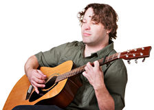 Guitarist with Eyes Closed Stock Photo