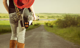 Guitarist at freeway Stock Photography