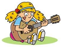Guitarist, girl Stock Images