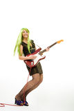 Guitarist with green hair Stock Images