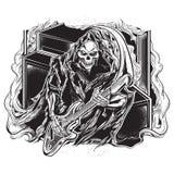 Guitarist grim reaper. Vector vintage illustration of guitarist grim reaper Royalty Free Stock Images