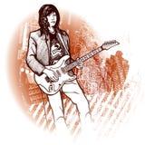 Guitarist on grunge background. Vector illustration of a guitarist on grunge background Stock Photos