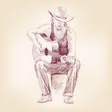Guitarist hand drawn vector llustration Royalty Free Stock Image