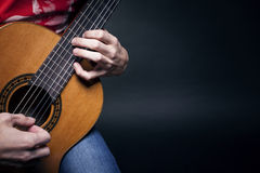 Guitarist hands closeup Stock Photos