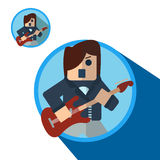 Guitarist icon, vector flat illustration. Guitarist circle icon with shadow, vector flat illustration Royalty Free Stock Images
