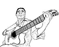 Guitarist ink sketch vector illustration Royalty Free Stock Images