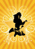 Guitarist jumps. On yellow background Stock Photos
