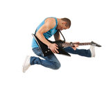 Guitarist jumps in the air Stock Photos