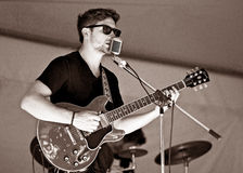 Guitarist Kyler Tapscott performs at Cultivate Food Festival - September 27, 2015 in Port Hope stock image