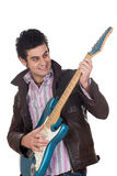 Guitarist with leather jacket Stock Photos