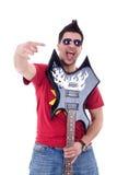 Guitarist making a rock sign Stock Photos
