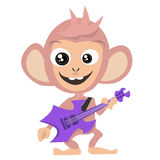 Guitarist monkey. Monkey playing guitar   illustration vector Royalty Free Stock Images