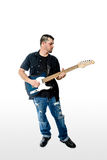 Guitarist Musician  on White head turned Royalty Free Stock Photography