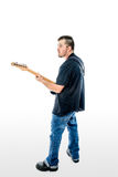 Guitarist Musician  on White Rear Stock Image
