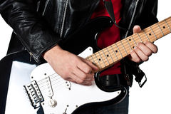 Guitarist playing on electric guitar Royalty Free Stock Images