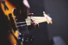 The Guitarist Playing Guitar and Singing Stock Image