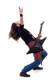 Guitarist is playing and making a rock Stock Photo