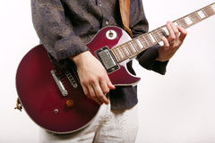 Guitarist plays. Solo on guitar Stock Image