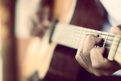 Guitarist plays Royalty Free Stock Photography