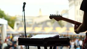 The guitarist plays at the concert. 4k Slowmo stock video footage