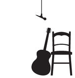 Guitarist Recording Session Set Up Silhouette Stock Photography