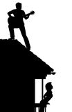 Guitarist on the roof. EPS8 editable vector silhouette of a man serenading a woman by playing guitar on a roof with figures as separate objects Royalty Free Stock Photos