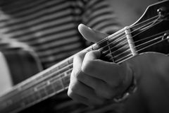 Guitarist's hand close up Royalty Free Stock Photo