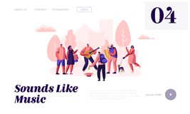 Guitarist and Saxophonist Playing Music in Park, People Watching Concert, Put Money in Hat, Street Musicians Perform Outdoors. Website Landing Page, Web Page royalty free illustration