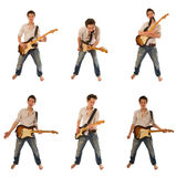 Guitarist in a shirt Royalty Free Stock Photos