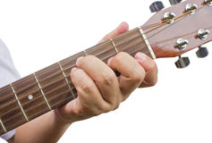 The guitarist show the F chord on the guitar. Royalty Free Stock Photo