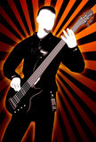 Guitarist silhouette on abstract background. Playing guitarist silhouette on abstract dark background Stock Image