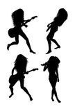 Guitarist Silhouettes Royalty Free Stock Photography